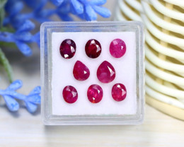 Red Ruby 4.08Ct 8Pcs Natural Mozambique Red Ruby Box B3406