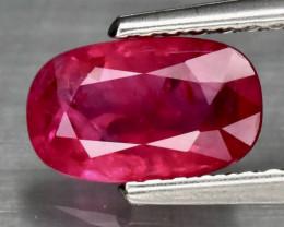 1.00ct Burmese Ruby - Purplish Red / Heated / 7.71 x 4.69mm / Certified