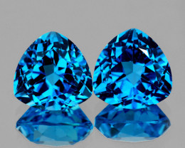 8.00 mm Trillion  2 pcs 4.08ct Swiss Blue Topaz [VVS]