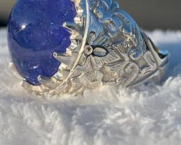 Mens Tanzanite Cabochon Sterling Silver Ring~Free Shipping