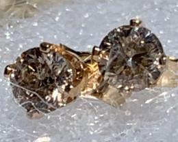 .36TCW Light Brown Diamond Gemstone Stud/Post Earrings 14k YG~Free Shipping