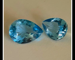 AAA Beautiful pair of Pear shape 2.80 carat Swiss Blue Topaz 8x6x3 mm