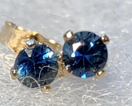 Ceylon Blue Sapphire Stud Earrings 14YG