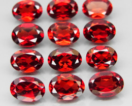 11.32 ct. / 7x5 mm   Natural Earth Mined Red Rhodolite Garnet Africa - 12 P