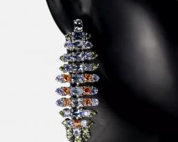 Stunning  Natural 95tcw. Tanzanite Earrings Untreated