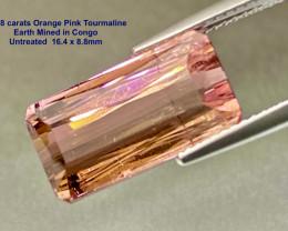 11.38ct Tourmaline - Congo / Orange Pink / 16.4 x 8.8mm