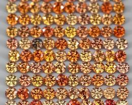 3.14 Ct 1.8mm 110p Round Diamond Cut 100% Natural Top Padparadscha Sapphire