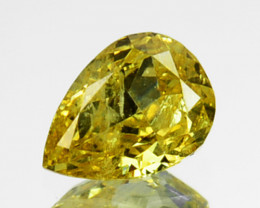 ~UNTREATED~ 0.14 Cts Natural Fancy Yellow Diamond Pear Africa