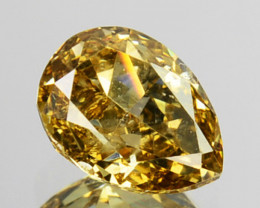 ~UNTREATED~ 0.28 Cts Natural Fancy Yellow Diamond Pear Africa