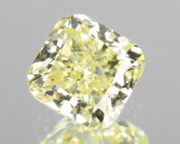 ~UNTREATED~ 0.24 Cts Natural Fancy Yellow Diamond Cushion Africa
