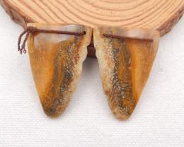 D1855 - 59.5cts Indonesia's coral Earrings Bead Pair ,Handmade Gemstone ,Nu
