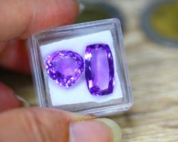 12.54ct Natural Purple Amethyst Pear Octagon Cut Lot LZ8436