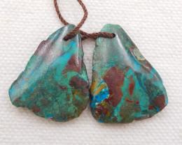 D1873 - 30.5cts Natural chrysocolla gemstone free shape earrings bead pair,