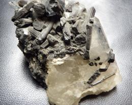 2.4 lbs impressive Schorl & white quartz combined  specimen pakistan