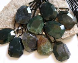 Wholesale 10 pcs Large Polyhedron Moss Agate Pendants AHA 739