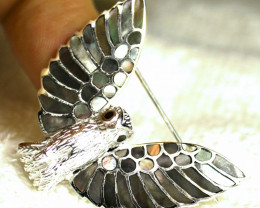 58.71 Tcw. Abalone Sterling Silver White Gold Bird Broach - Gorgeous