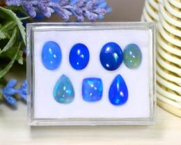 Welo Blue Opal 10.83Ct 7Pcs Natural Ethiopian Flash Color Welo Opal C0124
