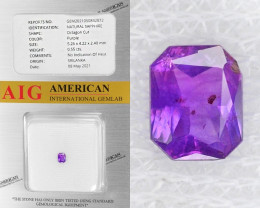 Purple Sapphire 0.55 Cts AIG Certified Unheated Natural Gemstone