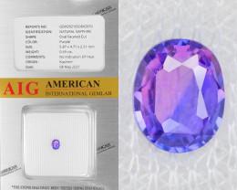Kashmir Purple Sapphire 0.69 Cts AIG Certified Unheated Natural Gemstone