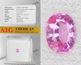 Padparadscha Sapphire 0.79 Cts AIG Certified Orange Pink Natural Gemstone