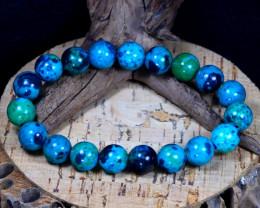 140Ct 10mm Natural Green Chrysocolla Beads Bracelet C0138