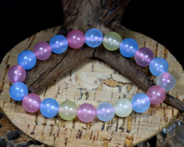 136.00Ct 10mm Natural Fancy Beryl Beads Bracelet C0173