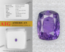 Purple Sapphire 0.99 Cts AIG Certified Unheated Natural Gemstone