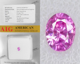 Padparadscha Sapphire 0.82 Cts AIG Certified Orange Pink Natural Gemstone