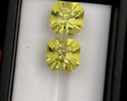 Top Grade 15.05 ct Asscher Cut Citrine Pair Ring Size