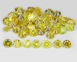 Yellow Diamond 1.45 Cts 53Pcs Sparkling Greenish Yellow Natural