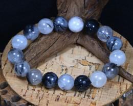 198Ct 12mm Natural Rutile Quartz Beads Bracelet A0221
