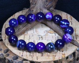181.30Ct 12mm Purple Botswana Agate Beads Bracelet A0241