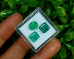 Zambian Emerald 4.42Ct 3Pcs Natural Green Color Emerald A0249