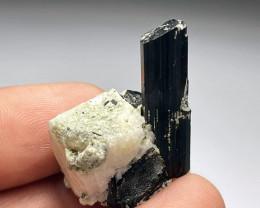 Amazing Natural color Damage free Black Tourmaline with Feldspar 67Cts-P
