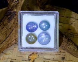 Blue Star Sapphire 12.22Ct 4Pcs Burmese Unheated Blue Star Sapphire B0304