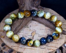 143.20Ct 10mm Natural Tiger Eye Beads Bracelet B0349
