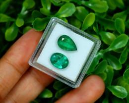 Zambian Emerald 4.08Ct 2Pcs Natural Green Color Emerald Box B0353