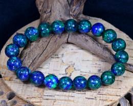 144.00Ct 10mm Natural Azurite Beads Bracelet B0361