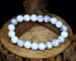 151.90Ct 10mm Natural Howlite White Color Beads Bracelet B0316