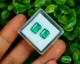 Zambian Emerald 2.75Ct 2Pcs Octagon Cut Natural Green Emerald B0365