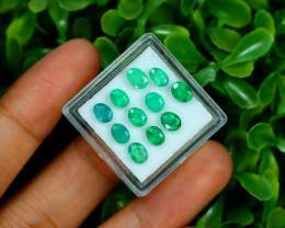 Zambian Emerald 3.54Ct 11Pcs Oval Cut Natural Green Emerald B0371