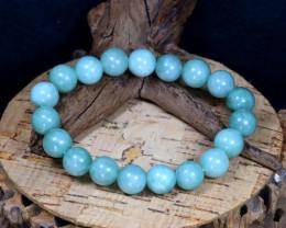 141Ct 10mm Natural Jadeite Jade Beads Bracelet B0329