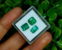 Zambian Emerald 3.89Ct 3Pcs Octagon Cut Natural Green Emerald B0331