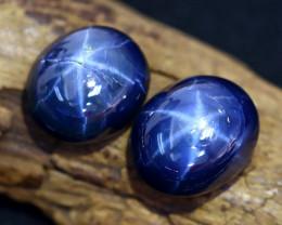 Blue Star Sapphire 22.33Ct 2Pcs Natural 6 Rays Blue Star Sapphire C0405
