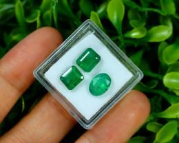 Zambian Emerald 4.29Ct 3Pcs Natural Green Color Emerald Box C0414