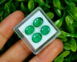 Zambian Emerald 6.04Ct 4Pcs Oval Cut Natural Green Emerald C0426
