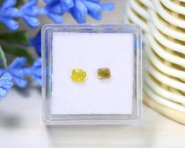 Yellow Diamond 0.65Ct 2Pcs Untreated Genuine Fancy Diamond C0453