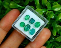 Zambian Emerald 4.61Ct 6Pcs Natural Green Color Emerald Box C0473