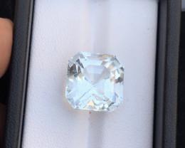 Top Grade 15.35 ct lovelyAsscher Cut Aquamarine Ring Size