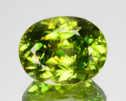 3.30 Cts Sparkling Natural Green Sphene (Titanite) Oval Russia